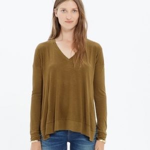 Madewell Green All Around Long Sleeve Blouse Top S